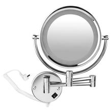 8 дюймов светодиодный настенное зеркало яркое увеличительное расширение складной двусторонний с нормальным и увеличительным x5 360 градусов Rota зеркала