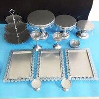 12 adet gümüş Pasta Standı Düğün Cupcake Standı Set Metal Dome Kristal Şeker Çubuğu Dekorasyon Kek Araçları Bakeware