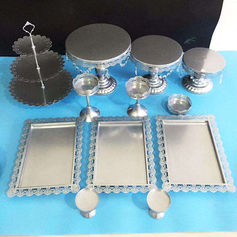 Us 139 0 12pcs Silver Cake Stand Wedding Cupcake Set Metal Dome Crystal Candy Bar Decoration Tools Bakeware In Stands From Home Garden
