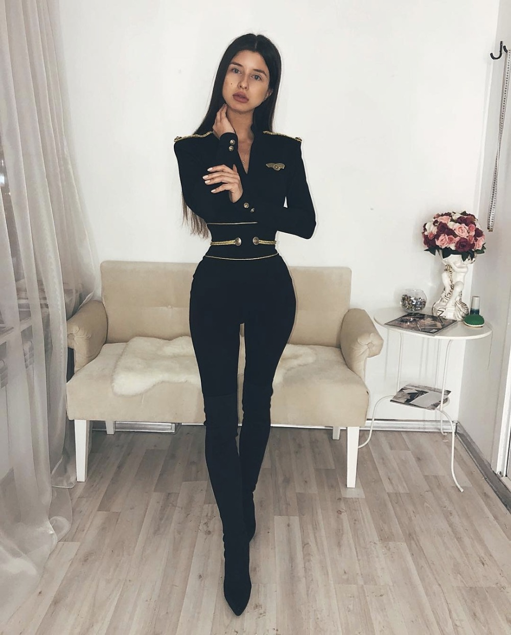 Women Summer With Gold Button V Neck Black Long Sleeve Sexy Bandage Jumpsuit Knitted Full Length 2018 Skinny Bodysuit Jumpsuits To Enjoy High Reputation At Home And Abroad Jumpsuits
