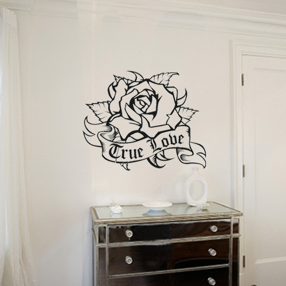 Rose wall decal living room home decor removable vinyl art stickers wallpaper traditional tattoo wall art flower decals zb193 in wall stickers from home