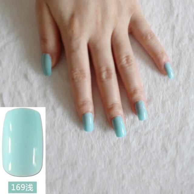 Nice Light Green Nail Art False Nails Lake Long Flat Fake Tips Perfect For