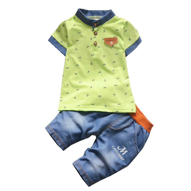 Cotton Toddler Boys Clothing Sets Kids Boys Clothes Summer Short Sleeve T-shirts+Denim Shorts 2 Pieces Children Set new arrival 2 pcs kids boys clothes summer baby boy clothes children toddler boys clothing set 100 % cotton t shirt shorts