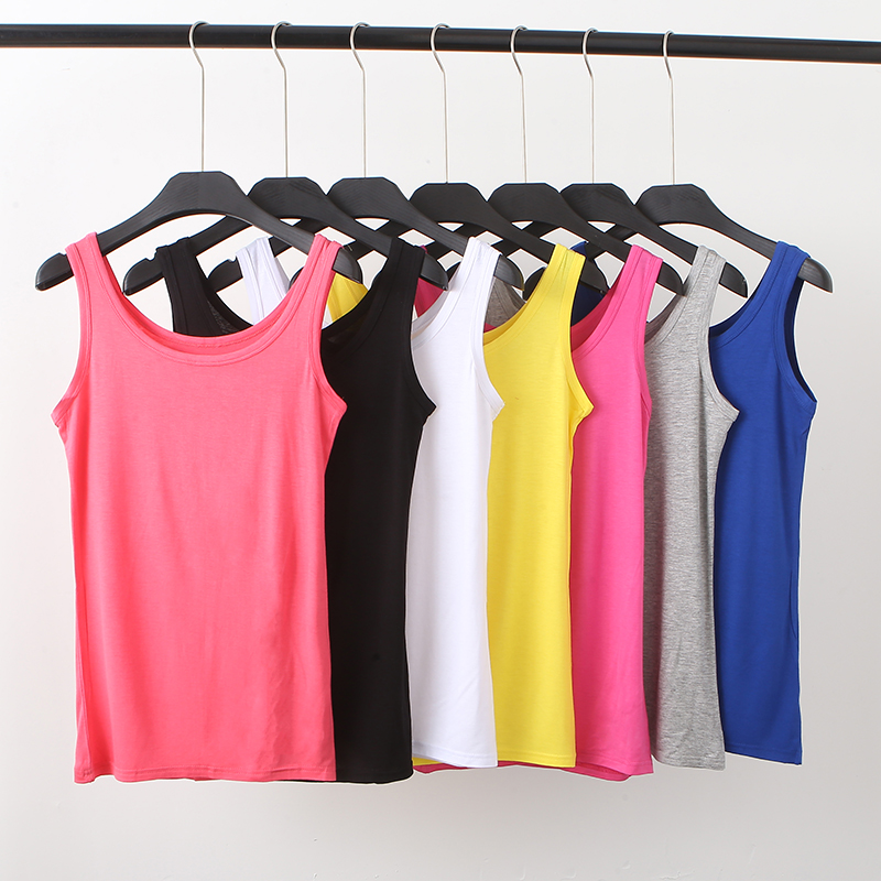 2019 Fashion Sexy Women Modal Tank Top Sleeveless Scoop Neck Solid Stretchy Slim Summer Tops Basic Camis Simple Soft Vest