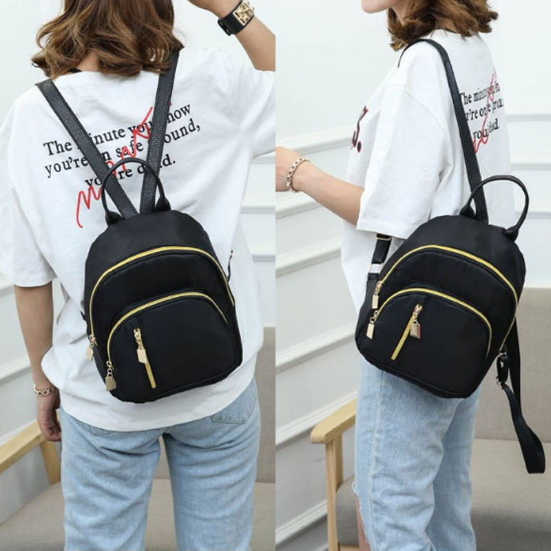2019 Women Girls Black Nylon Mini Backpack Travel School Backpack Shoulder Bags Zipper Black
