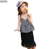 Summer Girl New Children's Clothing Suit 2017 Stripes Suspenders Tops + Tassel Bust Skirt Casual Fashion Kids Clothes 2PSC Set