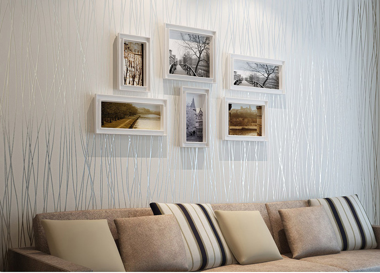 Plain simple vertical stripes woven flocking living room ...