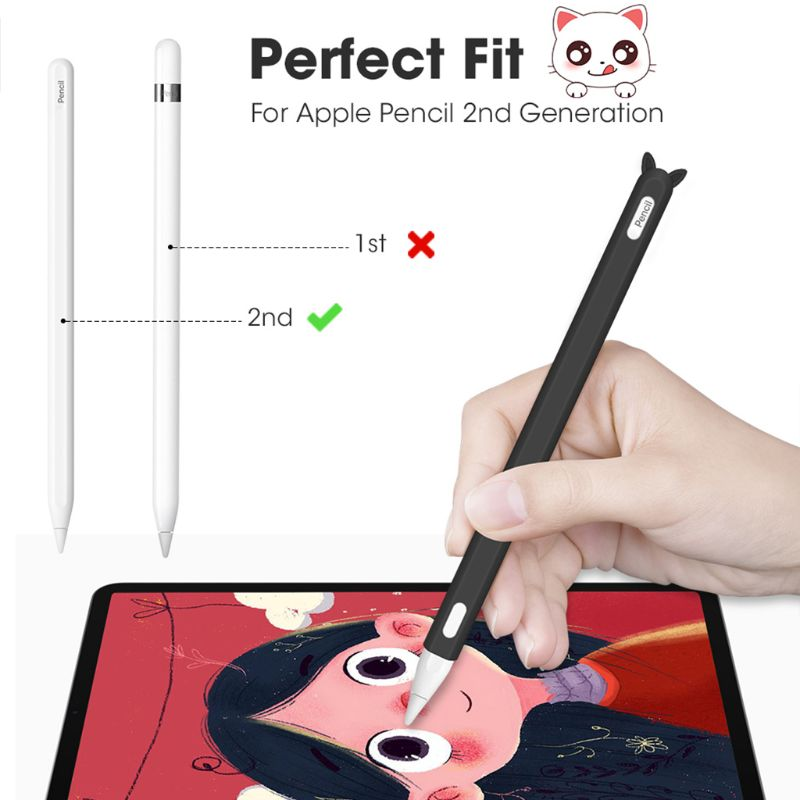Cute Cat Ear Anti-scroll Silicone Protective Pouch Cap Holder Nib Cover Protective case Skin For Apple Pencil 2 for iPad Pencil