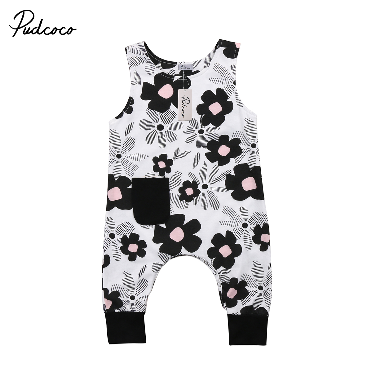 Flower Baby Clothing Newborn Baby Girl Floral Sleeveless Romper Jumpsuit Baby Clothes Cotton Floral Outfit 0-18M