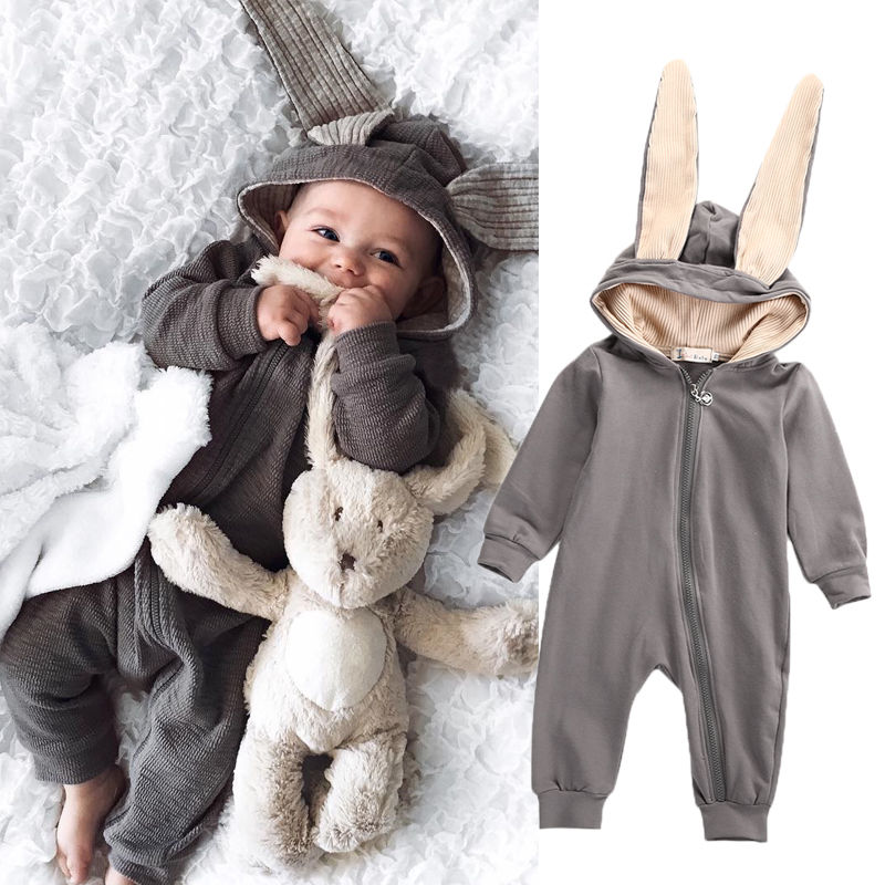 New Infant Baby Boy Girl  3D Ear Cotton Romper Jumpsuit Babies Cute Rabbit Ear Hooded Rompers Outfits Costume Zipper Clothing newborn infant baby romper cute rabbit new born jumpsuit clothing girl boy baby bear clothes toddler romper costumes