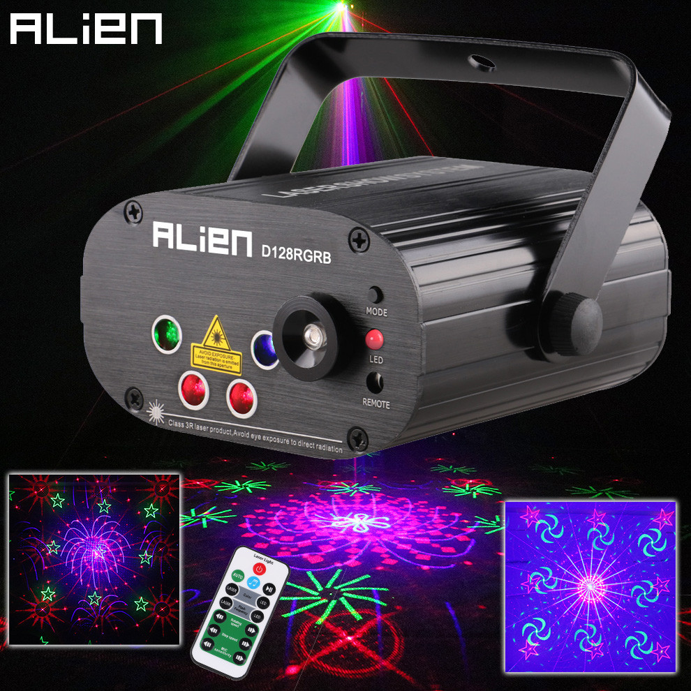 ALIEN Remote 128 Patterns RGB DJ Laser Projector Stage Lighting Effect Disco Club Xmas Party Holiday Show Light With 3W Blue LED 3w rgb led dj stage light auto rotating projector disco club ball lamp party show dmx lighting effect battery powered page 7