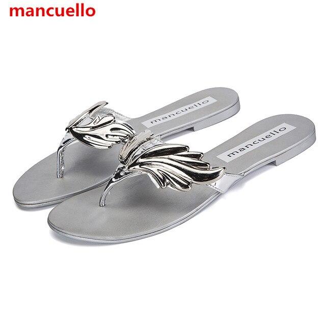58742b47f6ef1b mancuello New Arrival Own Fashion Women Leaf Wing Slippers Flip Flops Flat  Heel Sandals Nude Gold Silver Shoes Woman Slides