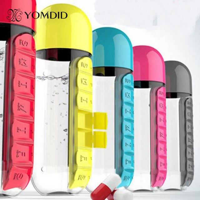 Pillendoosje Voor 7 Dagen.Plastic Sport Waterfles Met Pillendoos 7 Dagen 5 Kleuren Beschikbaar