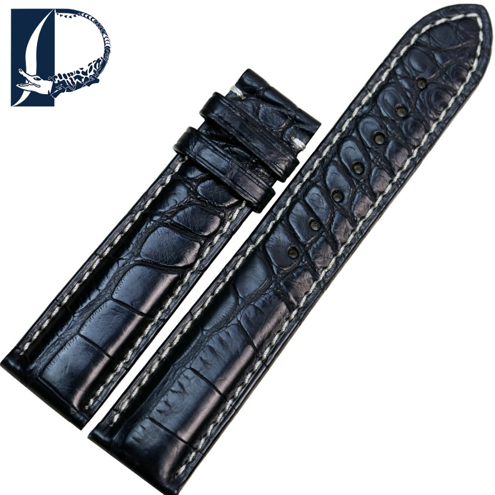 Pesno 20mm Black Crocodile Alligator Skin Leather Watchband and Stainless Steel Pin Buckle for Men|leather watchband|20mm black|leather alligator watchband - title=