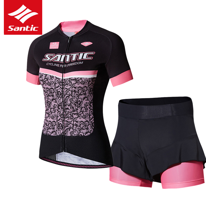 Santic Cycling Jersey Set Women Summer Short Sleeve Bike Bicycle Jersey 4D Sponge Padded Cycling Clothing