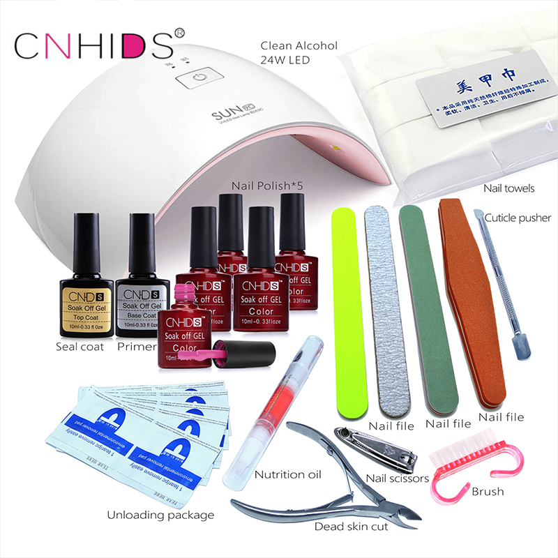 CNHIDS in 24W Professional 9C UV LED Lamp 5 Color Top Coat +Base Coat  10ml Nail  Gel soak off Gel Nail  Polish Other Nail Tools