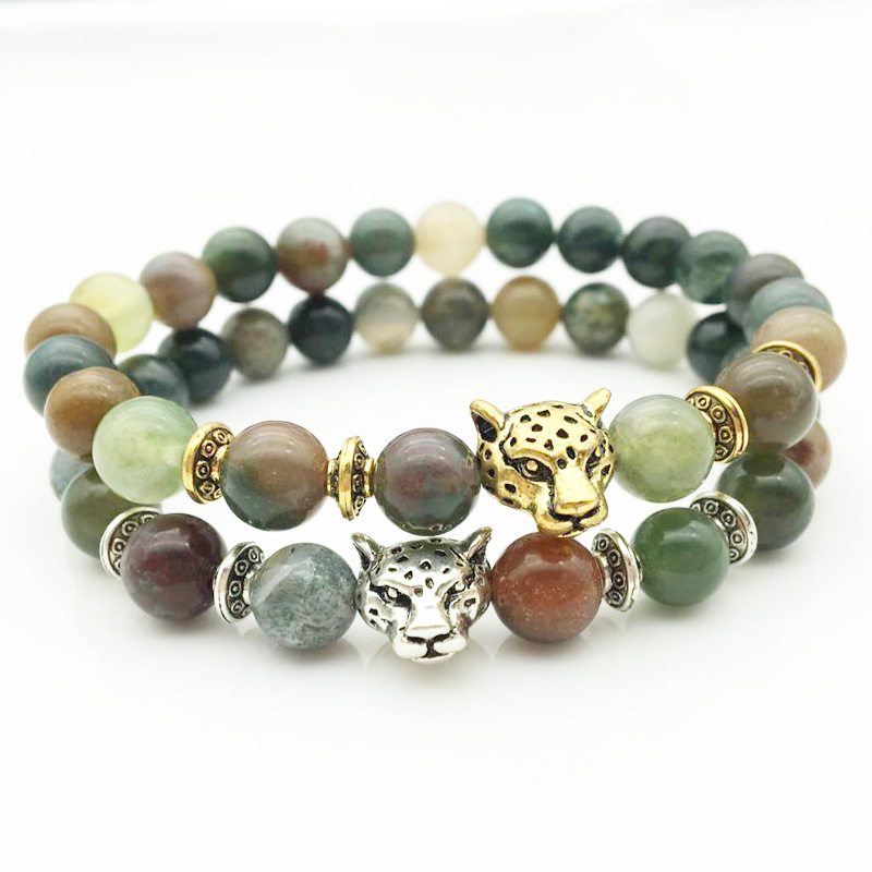 Indian Agate Tourmaline Crystal Bracelet Buddha Beads Natural Stone Made Tibetan Gold Silver Leopard Head Bracelet Nice Gifts