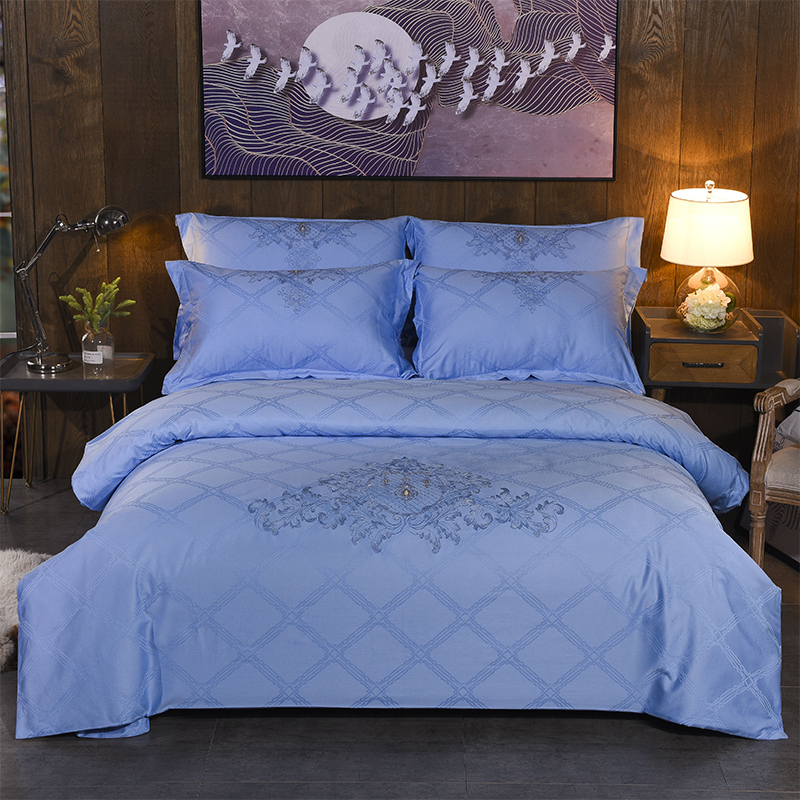 Luxury Cotton Jacquard 4pcs Bedding Sets Embroidery Duvet Cover Pillow Cover Bed Sheet Bed Linings Home Textile   Luxury Cotton Jacquard 4pcs Bedding Sets Embroidery Duvet Cover Pillow Cover Bed Sheet Bed Linings Home Textile