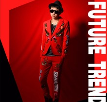 M-5XL ! Nightclub male singer DS DJ embroidery cloth paste stitch red suit fit slim Men blazer hairstylist cost stage costumes !