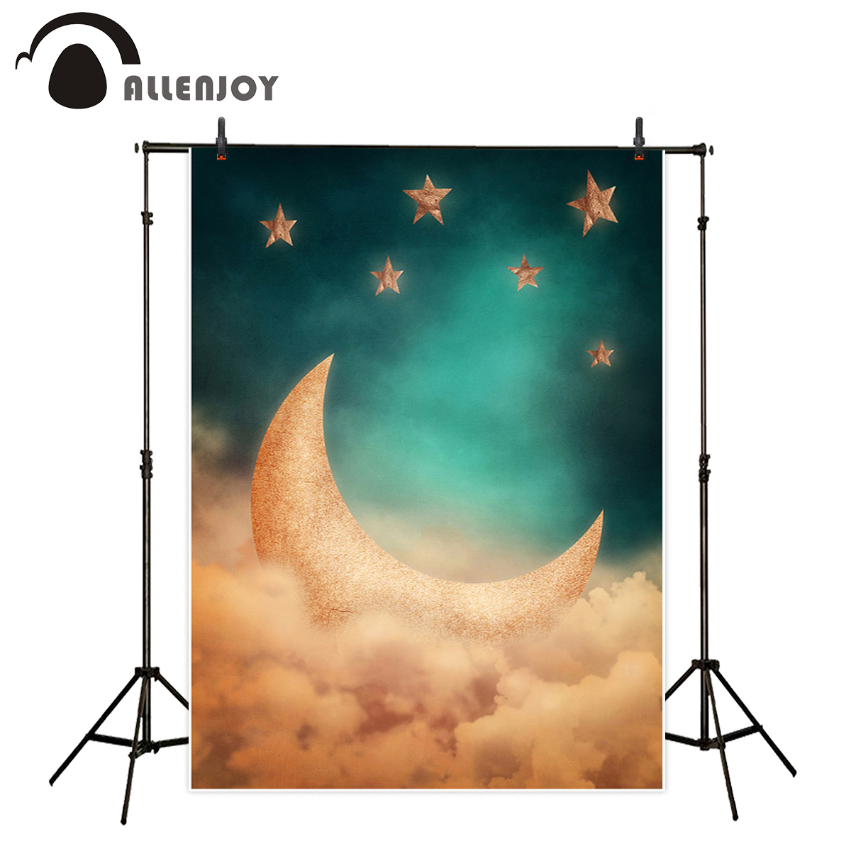 Allenjoy camera fotografica background Classic vintage stars cloud moon dream vinyl fabric fotografia photocall for photo studio allenjoy photography background lovely clouds cotton hearts stars rainbow backdrop photo studio camera fotografica