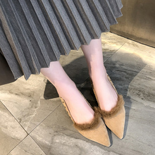 Liren 2019 Summer Fashion Sexy Lady Fur Sandals Pointed Wrapped Toe Shallow Mid Hoof Heels Women Casual Sexy Sandals цена