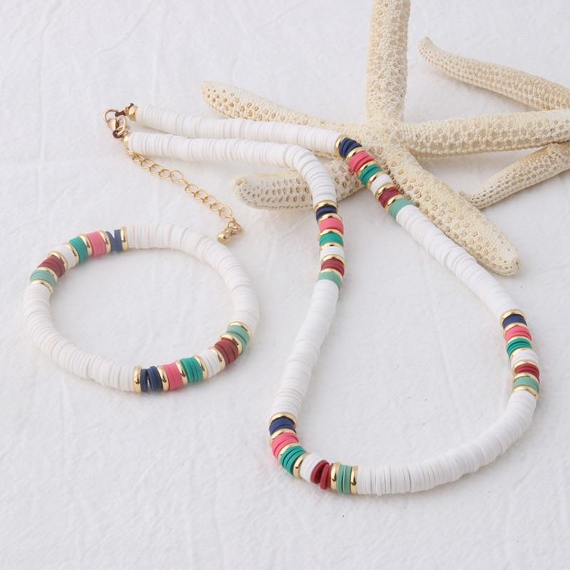 NeeFu WoFu bead Bracelet Bohemian Soft pottery Bracelets For Women Nationality stainless steel Bracelet Beach Colorful Jewelry
