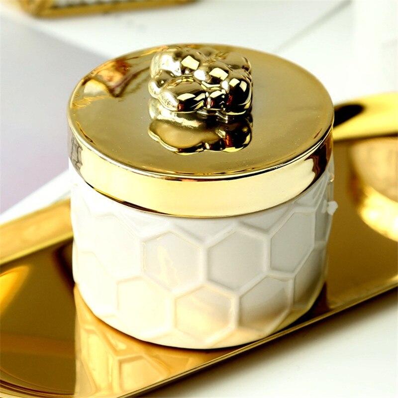 Noric ins boîte de rangement céramique or | Galvanoplastie dabeille, bijoux réservoir de rangement, porcelaine de haute qualité pour maison, ornements décoratifs danimaux