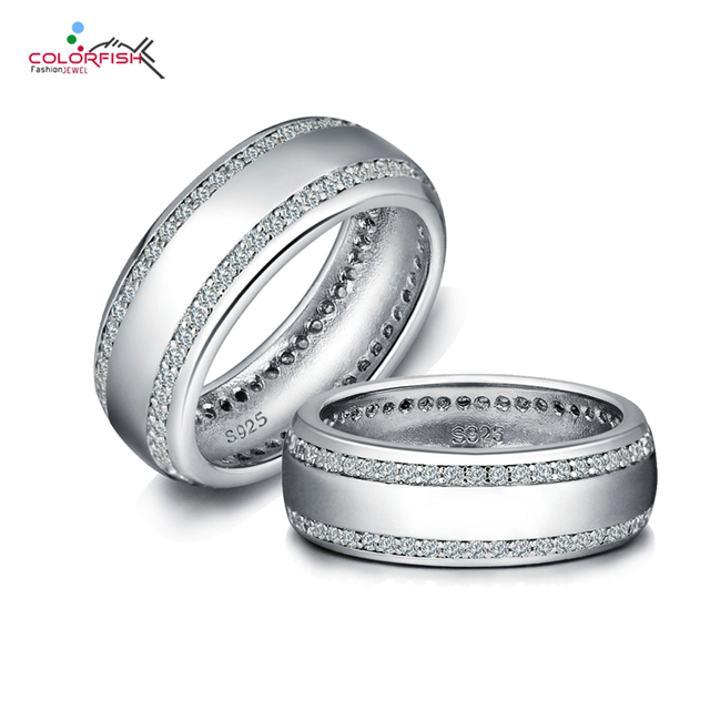 Colorfish Silver Wedding Band Ring For Men Women Uni Jewelry Cubic Zirconia Authentic 925 Sterling