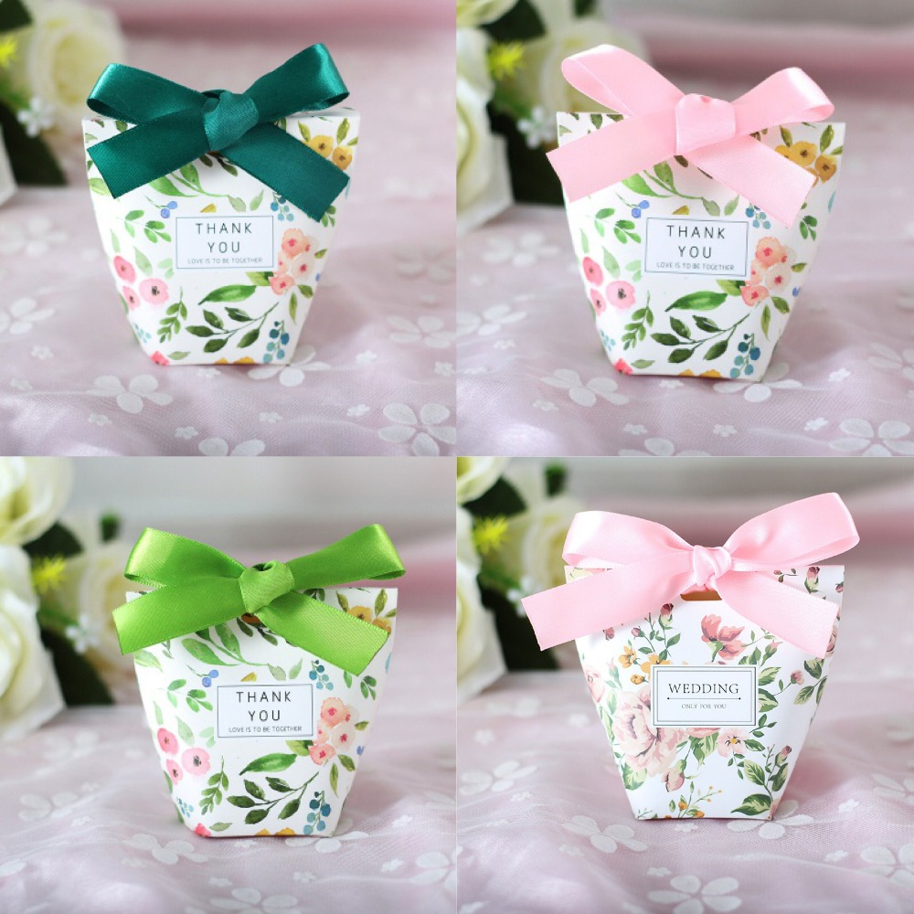 50pcs New Creative Green Pink Floral Candy Box Wedding Favors Party