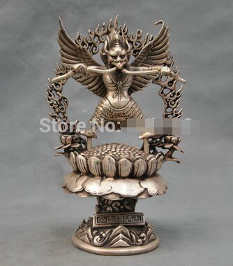 0 China Silver Bronze garuda Guardian numen Buddha Bronze Statue