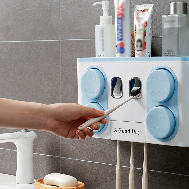 Anti-poussière porte-brosse à dents Avec Tasses Automatique Presse-Pâte Dentifrice Distributeur sèche-cheveux Titulaire Rack organisateur de stockage domestique Ensemble