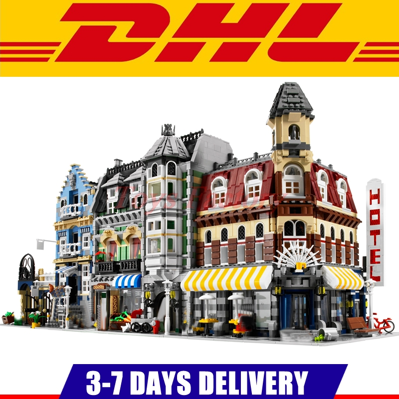 LEPIN 15002 Cafe Corner +15007 European Market +15008 Green Grocer Model Building Kits Clone 10185 10182 10190 lepin 15008 2462pcs city street green grocer legoingly model sets 10185 building nano blocks bricks toys for kids boys