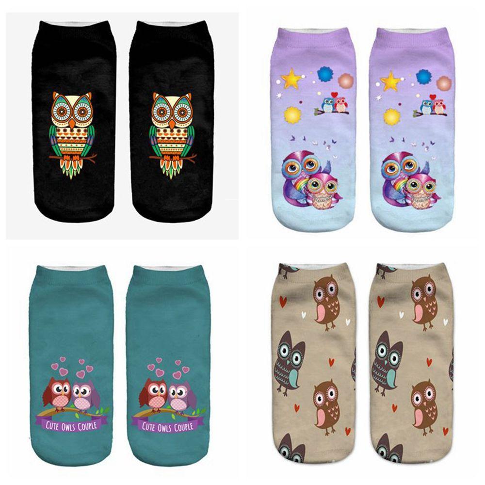 Women's Elastic Owl Printed Short Socks