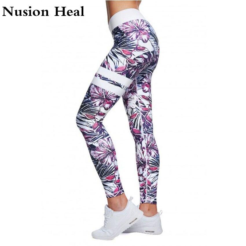 NUSION HEAL Women Yoga Leggings Running Tights Printed Women Fitness Sports Leggings Color Autumn Workout Pants Mesh Leggins CK8