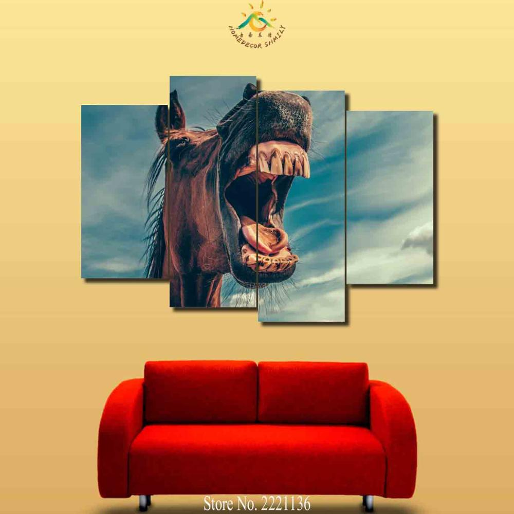 4 Pieces Horse Opening Mouth Modern Wall Art Canvas Printed Painting ...