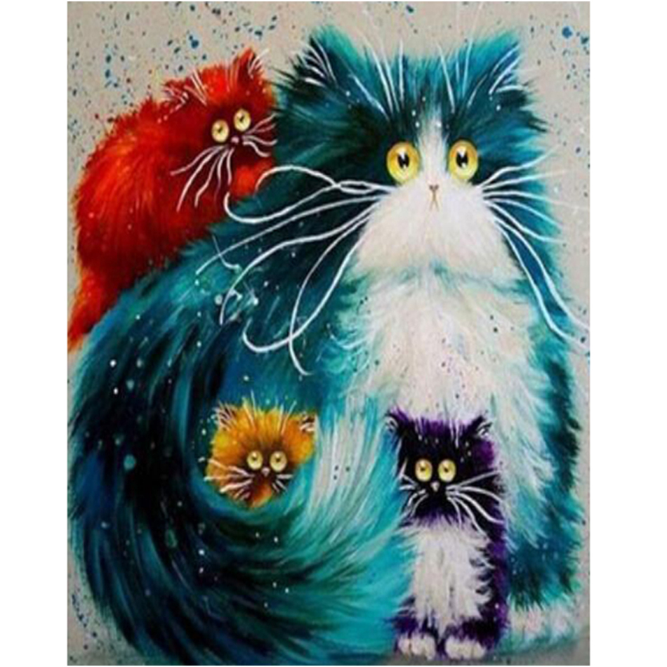 WEEN Four cats-Animal DIY Paint By Numbers Kit for kids,Paint On Canvas, Painting Numbers, Calligraphy Wall Picture 40x50CM