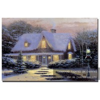 Top Artist Hand painted High Quality Modern Christmas Landscape Oil Painting on Canvas Winter House Oil Painting for Living Room