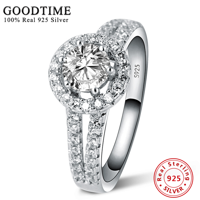 Hot Sale Ring Silver 925 Jewelry 100% 925 Pure Silver Engagement Ring S925 Stamp Zirconia Wedding Rings For Women Gift GTR039