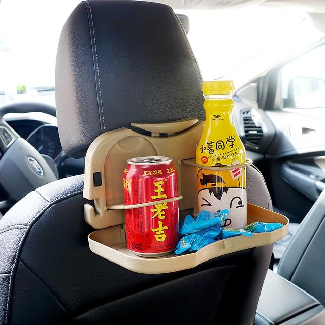 Car Folding Table Beverage Bottle Holder Stand Desk Cup Back Seat Auto
