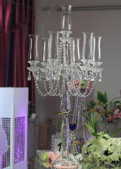 Wholesale 9 arms new design top crystals centerpieces wedding decorations with hurricane