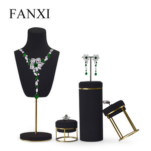 Image 5 - FANXI Jewelry Display Leather Necklace Earring Bracelet Display Stand Neckalce Bust Display Setwith Metal Base
