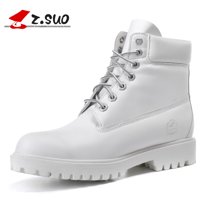 2017 Fashion Autumn Winter Leather Men Boots Yellow Casual White Shoes Rubber Platform Leather Mens Work Boots Plus Size 44 45(China)