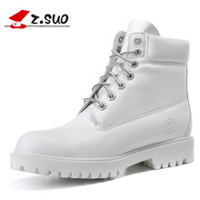 2017 Fashion Herfst Winter Lederen Mannen Laarzen Geel Casual Wit schoenen Rubber Platform Lederen Mens Werk Laarzen Plus Size 44 45(China)