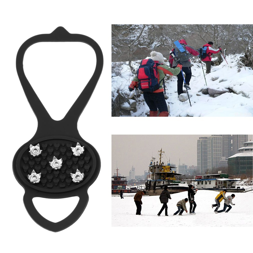 1pair Newest Walking Cleat Ice Gripper Anti Slip Ice Snow Walking Shoe Spike Grip Camping Climb