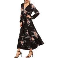 Black Chiffon Floral Print Dresses 2017 New A Line Vinatge Long Sleeve Sexy V Neck Maxi