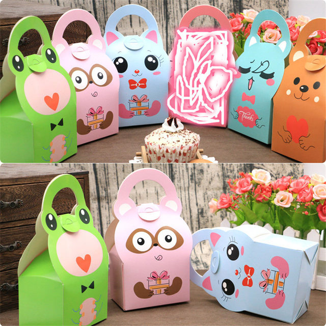 24pcs Baby Shower Safari Favor Box Bag Animal Design Candy For Boy Kid Birthday Party Gift DIY Paper Treat