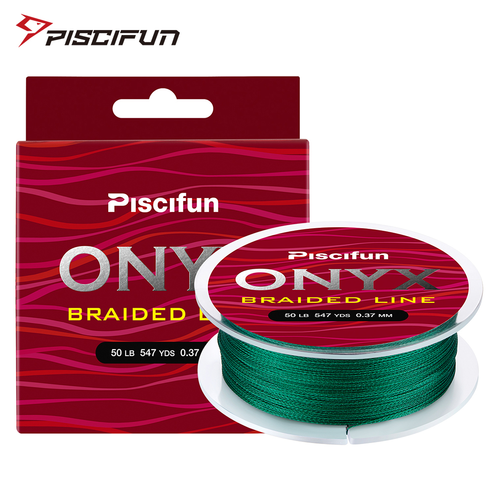 Piscifun Onyx 500M Braided Fishing Line Super Strong 6-50LB 4Strands 65-150LB 8Strands Abrasion Resistant Multifilament PE Line