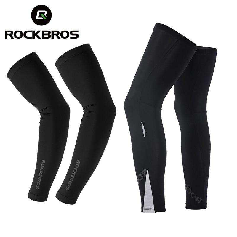 ROCKBROS Suncreen Running Arm Sleeve Warmer Cycling Bicycle Basketball Arm Sleeves UV Protect Men Sports Arm Leg Warmers Cover