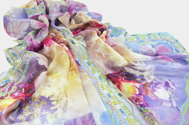 Purple Floral Silk Scarf | Lightweight Scarves | Up to 60% Off Now
