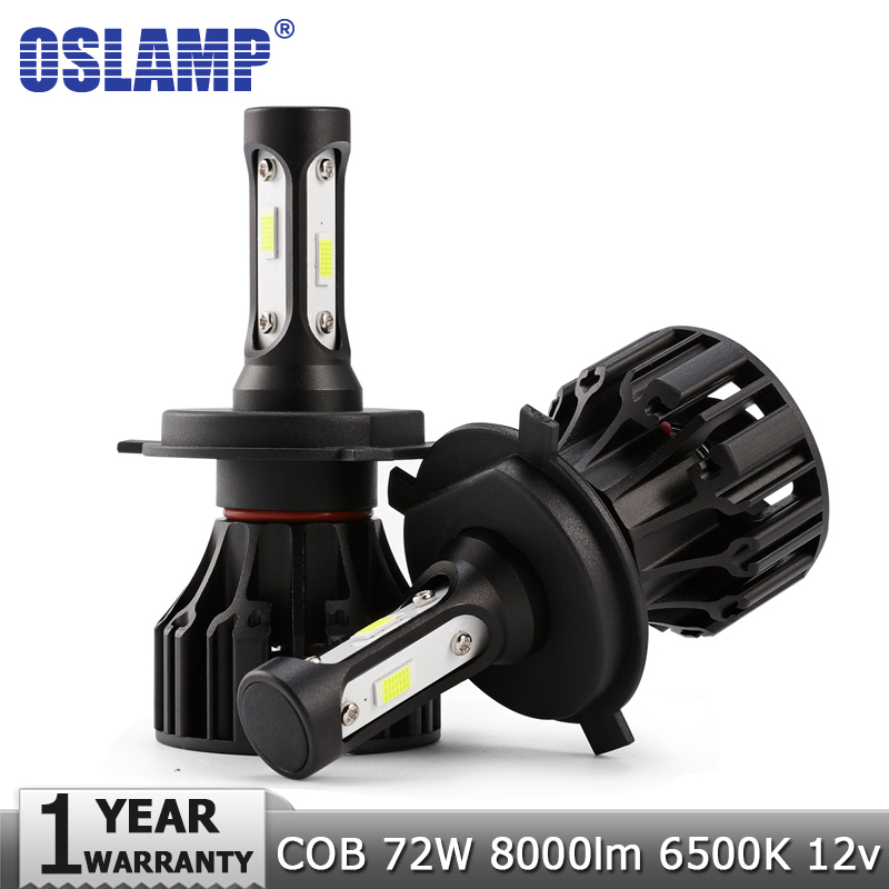Oslamp 72W COB Chips H4 H7 LED Car Headlight Bulbs H11 H1 H3 9005 9006 Hi-Lo Beam 8000lm 6500K Auto Headlamp Led Light DC12v 24v oslamp h4 h7 led headlight bulb h11 h1 h3 9005 9006 hi lo beam cob smd chip car auto headlamp fog lights 12v 24v 8000lm 6500k